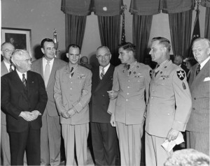 President Harry S. Truman with Korean War veterans on May 19, 1951 after awarding each the Congressional Medal of Honor. From left to right: three unidentified men, First Lieutenant Carl Dodd, President Truman, Sergeant John A. Pittman, Master Sergeant Ernest R. Kouma, and Secretary of Defense George C. Marshall.